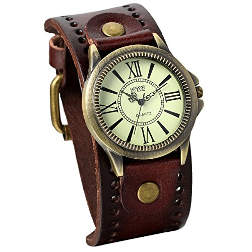 JewelryWe Vintage Leather Strap Wide Band Wristwatch Cuff Quartz Watch for Men - Brown