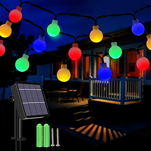 Solar String Lights Outdoor, 36Ft 60LED Solar Powered Fairy Lights 8 Modes Waterproof Festival Globe String Lights Indoor Outdoor for Garden, Patio, Yard, Christmas, Tree Decoration (Multicolored)