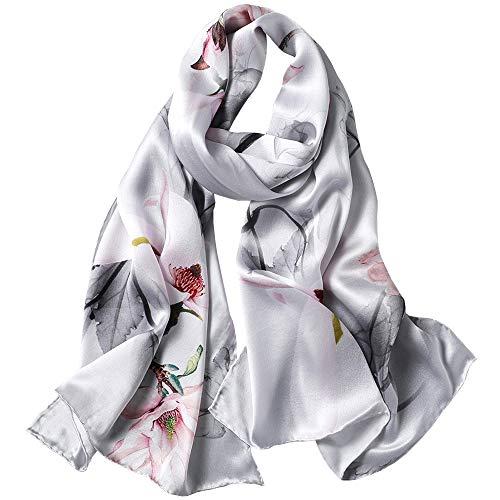 Seidenschals Damen 100% Seide Leicht Seidentuch Silk Schal Halstuch Tuch Geschenk Frauen 170 X 55cm (Satin-silber grau) MEHRWEG