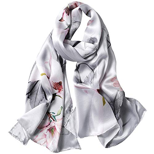 Seidenschals Damen 100% Seide Leicht Seidentuch Silk Schal Halstuch Tuch Geschenk Frauen, MEHRWEG (Satin-silber Grau)