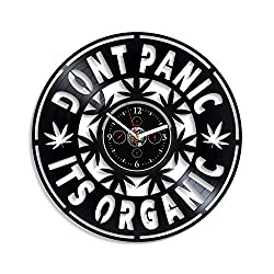 Kovides Dont Panic Its Organic Wall Clock Vintage Vinyl Record Retro Wall Clock 12 Inch Birthday Gift for Husband New Year Gift Cannabis Clock Modern Wall Clock Cannabis Art