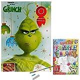 The Grinch - Calendario de Adviento con chocolate con leche con libro de rompecabezas de regalo y bolígrafo de punta de crayón