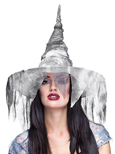 Cappello Strega Zolla con velo effetto stracciato grigio