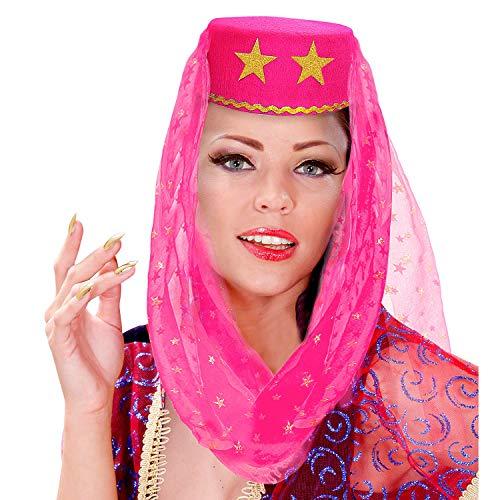 WIDMANN Sombrero harn con velo de fieltro, color rosa, para carnaval, fiesta temtica
