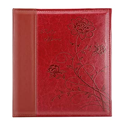 Artmag Photo Album 4x6 1000 Photos, Large Capacity Wedding Family Leather Cover Picture Albums Holds Horizontal and Vertical 4x6 Photos with Black Pages(Red)