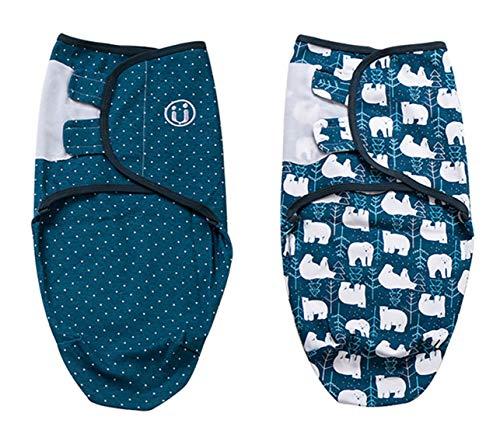 Chilsuessy Baby Pucksack Wickel-Decke - 2er Pack Universal Verstellbare Schlafsack Decke Swaddle Puckschlafsack für Säuglinge Babys Neugeborene Unisex, Eisbär, S/0-2 Monate
