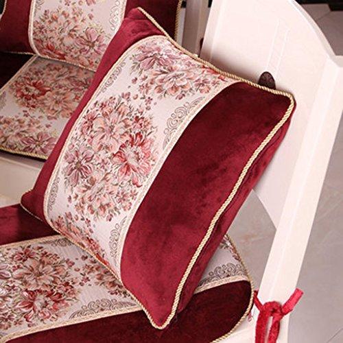 ZUOANCHEN Coussin Or Broderie Style Européen Coussin Canapé Oreiller Maison Salon/Lit Coussin Arrière avec Oreiller 45 * 45CM (Couleur : Red)