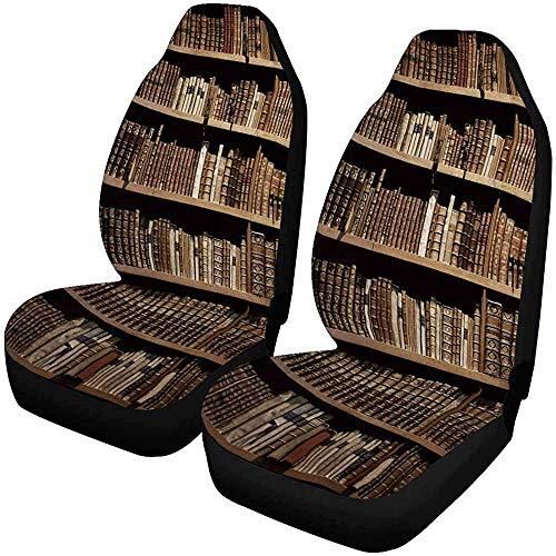 Oude boeken Op Houten Plank Auto Stoelhoezen (Set van 2) Beste Automobile Stoelen Protector