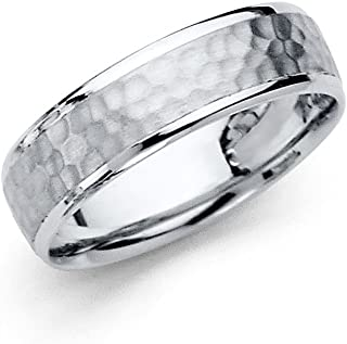 14k White Gold Band Solid Wedding Ring Hammered Finish Polished Edge Comfort Fit Men Women 5.5 mm
