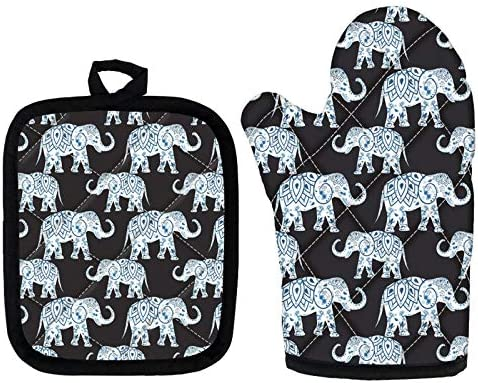 ZFRXIGN Mandala Elephant Patterned Oven Mitts and Pot Holder Set Soft Cotton Lining with Non product image