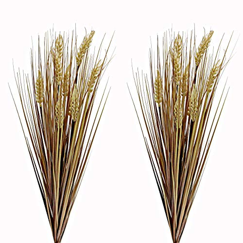 Admired By Nature ABN3B001-GLD-2 Realistic Faux 28 Inch Grass for Fall décor, Set of 2, Wheat-Gold