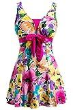 Wantdo Costume da Bagno Dimagrante Plus Size Spiaggia Donna Fucsia 48-50