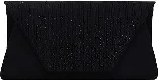 Glittery Pleated Rhinestone Envelope Evening Handbag Clutch Purse Crossbody Bag