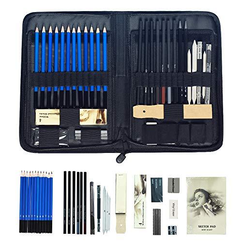 Froadp 42tlg Skizzierstifte Set Professionell Zeichnen Bleistifte Kit Mäppchen mit Graphitstift Kohlestifte Papierstifte Spitzer Radier für Künstler Anfänger Schüler