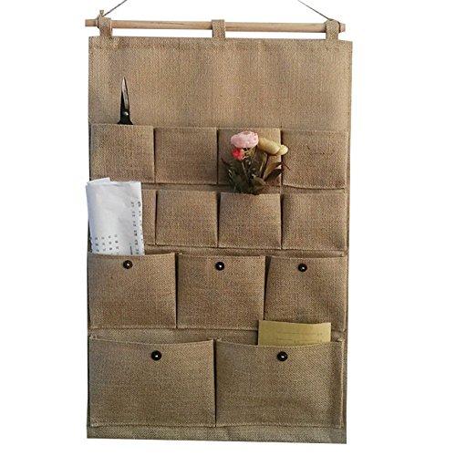 GudeHome Draps/Tissu de Coton 13 Poches Mur Organisateur Portes suspendues Organisateur Sac de Rangement Closet
