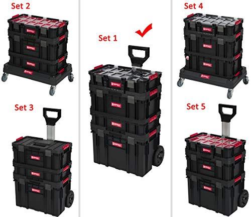 XL Werkzeugtrolley, Werkstattkoffer Set, Werkstattwagen Set aus'Q-Brick' Serie mit viel Zubehör! B x T x H in cm: 53 x 38 x 98 cm ! Der mobile Alleskönner - Privat & Gewerbe (Set 1)
