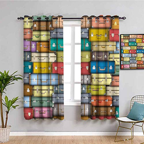 Modern Black Out Curtains for Bedroom Colorful Suitcases Background Vintage Travel Voyage Holiday Themed Artful Design Protective furniture Multicolor W63 x L45 Inch