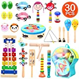Ohuhu 30 Stück Musikinstrumente Musical Instruments Set, Spielzeug von Holz Percussion Schlagzeug Schlagwerk
