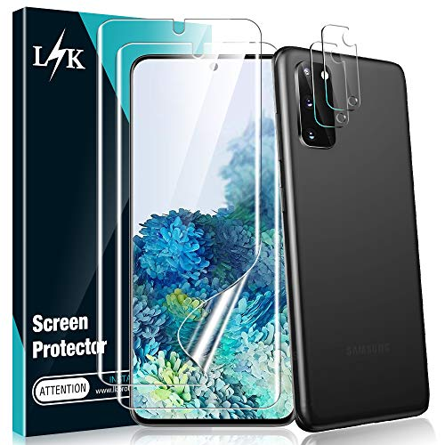L K [4 Stück] 2 Stück Kamera Panzerglas für Samsung Galaxy S20 + 2 Stück Schutzfolie, [Bubble Free] [Anti-Kratzer] HD Klar Kameraschutz Folie Gehärtetem Glas Displayschutzfolie