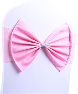 LORIE 10 pcs Pink Wedding Chair Sashes Bow Spandex Chair Cover Bands Party Chair Ribbons for Baby Shower Banquet Christmas Thanksgiving Decorations (10, Pink)