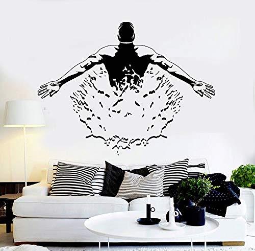 BailongXiao Hübsche Haltung Wohnzimmer Pool Schwimmer Kunstwand entfernbaren Aufkleber 59X42cm