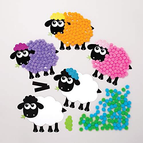 Baker Ross Kits Imanes Pompones Ovejas - Actividad de manualidades primaverales infantiles para crear y exhibir (Paquete de 5)