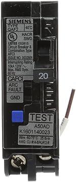 SIEMENS 20 Amp Combination AFCI Circuit Breaker Single Pole Type QAF2 Plug In UL