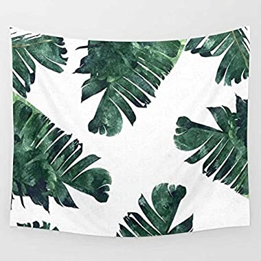 Fresh Banana Leaf Printed Wall Art Hanging Tapestry Dorm Decor (51 H x 60 W,Banana Leaf1)