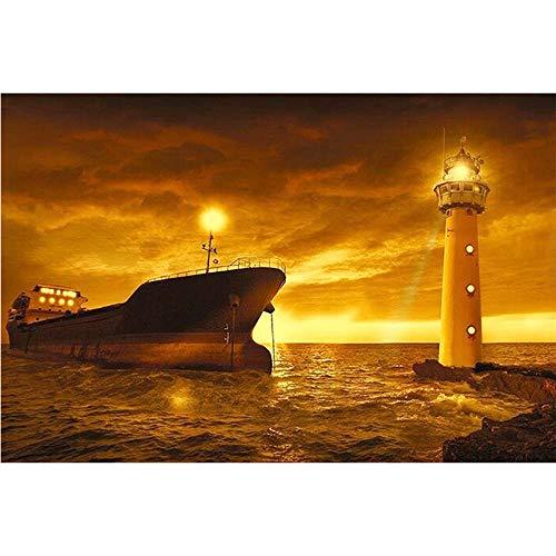 5D pintura diamante taladro completo kit Faro de barco de vapor DIY Diamond Painting rhinestone bordado de Punto de Cruz para la Decoración de la Pared del Hogar regalos artesanía 30x40cm
