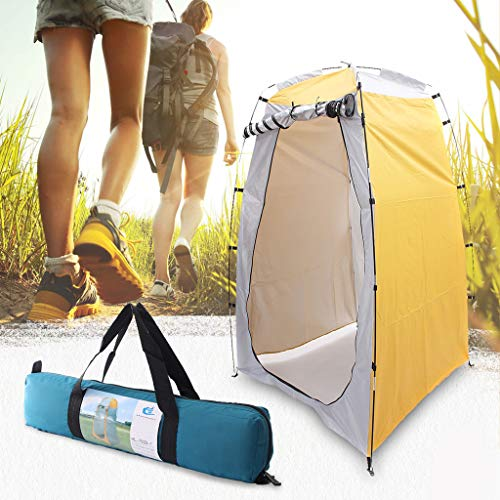 Elikliv - Tenda per WC pop-up 2020, portatile, per doccia esterna, bagno, spogliatoio, tenda da campeggio, spiaggia, privacy, tenda da bagno, parasole per esterni (giallo)
