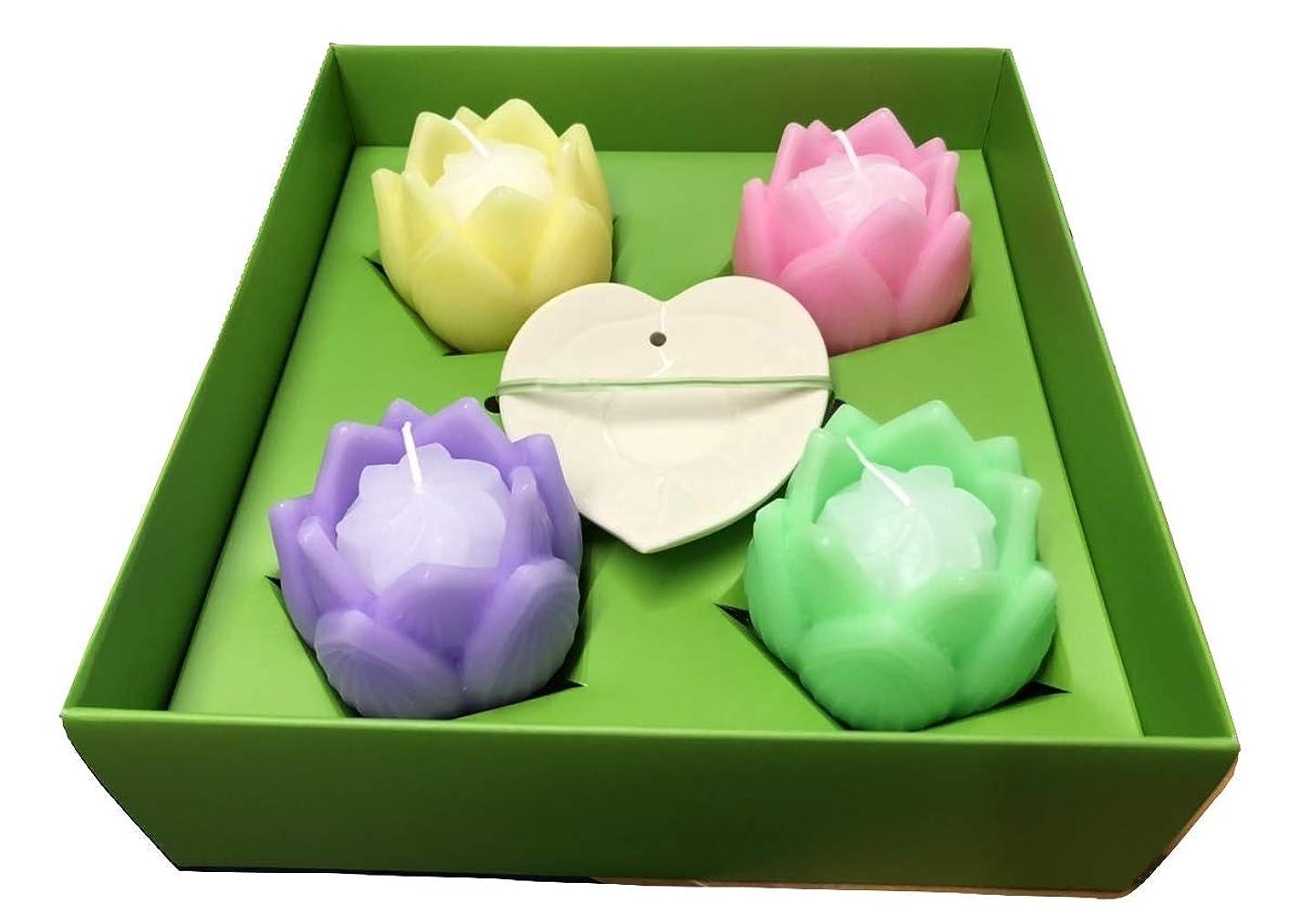花あかり???フルール/蓮ローソク/ピンク/緑/黄色/紫/皿つき