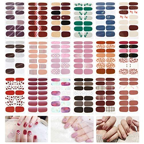 LATTCURE Nagelsticker, Nagelaufkleber, Nagelkunst Sticker, Selbstklebende Nagelfolie, Nail Art Aufkleber Schöne Mode DIY Dekoration 18 Blatt Nagelsticker