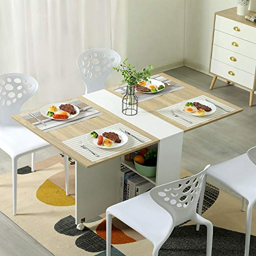 Tiptiper Esstisch Klappbarer, Vielseitiger Esstisch mit 6 Rädern und 2 Ablageflächen, Platzsparend Ausziehbarer Küchentisch