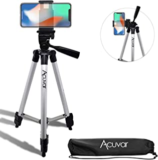 "Acuvar 50"" Inch Aluminum Camera Tripod with Quick Release + Universal Smartphone Mount for iPhone 11 Pro, 11 Pro Max, Xs, ..."