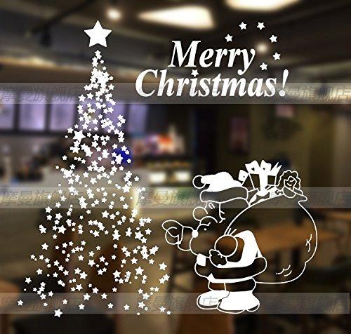 M487 Kerststerren kerstboom Kerstman Kerstmis Gift Bloem muur sticker op het raam glas-muur sticker, wit, Koning