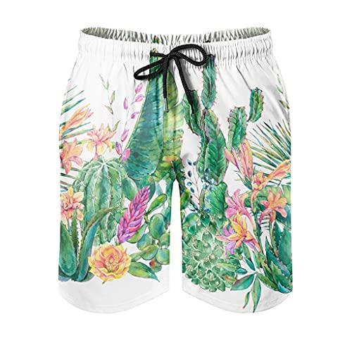 Gamoii Bañador para hombre, diseño tropical, flores verdes, con forro de malla, pantalones cortos de surf con cordón ajustable, bolsillos laterales, blanco, XL