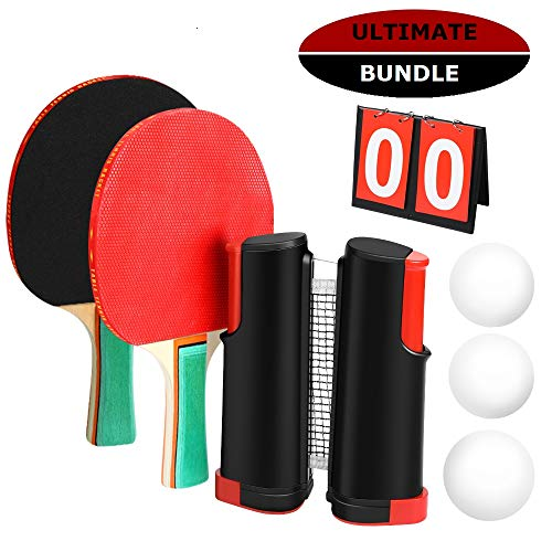 Best Prices! Marsrizon Professional Ping Pong Paddle Set with Retractable Net, Balls, Posts, Scorebo...