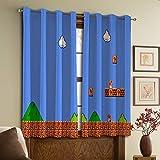 Cortinas de cocina Super Mario Bros ideales para salas de estar y dormitorios de 182 cm x 200 cm