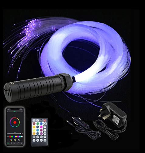 AZIMOM Car Use Bluetooth 6W RGB LED Fiber Optic Lights Star Ceiling Light Kit APP Remote Controller 150pcs 0.03in 6.5ft Optic Cable Music Mode Sensory Lighting Indoor Home Interior Decoration