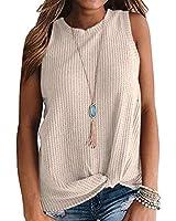 AUSELILY Womens Sleeveless Casual Tops Cute Twist Knot Waffle Knit Shirts Tank Tops (L, Beige)