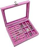 Tachiba Caja de joyería de Viajes Joyería,Caja de joyería de Franela Premium para Mujer,Caja de joyería con Tapa de Vidrio,para Anillos,Pendientes,Collar,Pulseras (Color : 9 Gitter Rose Red)