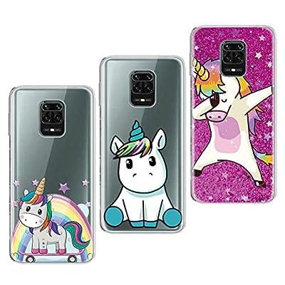 Yoedge Funda para Xiaomi Redmi Note 9 Pro/Redmi Note 9s [3 Unidades], Silicona Ultra Thin TPU Cubierta Transparente Movil Carcasa Antigolpes Delgado Protector Case, Unicornio
