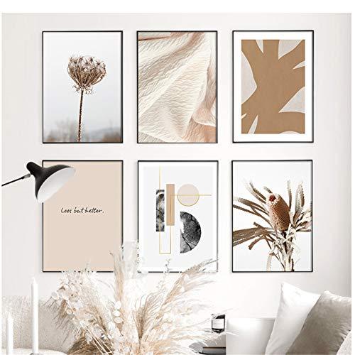 chthsx Verwelkte Pflanze Zusammenfassung Golden Geometric Nordic Poster und Drucke Wandkunst Leinwand Malerei Wandbilder für Wohnzimmer Home Decoration -30x40x6Pcscm Kein Rahmen