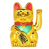 FIOTOK Maneki Neko, Lucky Fortune Cat, Japanese Lucky Cat with Waving Arm Gold Battery Operated(Battery Cover Included)