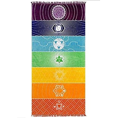 AMCYT Amacigana® Toalla de playa india 7 chakras tapiz, toalla de yoga, arco iris, toalla de playa, alfombra (arcoíris) 75 cm x 150 cm