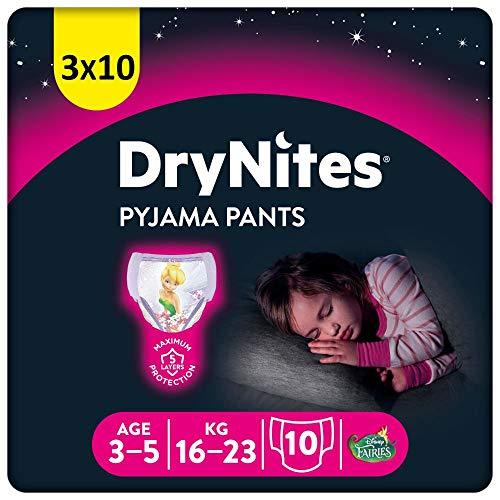 Huggies DryNites hochabsorbierende Nachtwindeln bei Bettnässen, für Mädchen 3-5 Jahre, 3 x 10 Stücke, halb-Monatspack