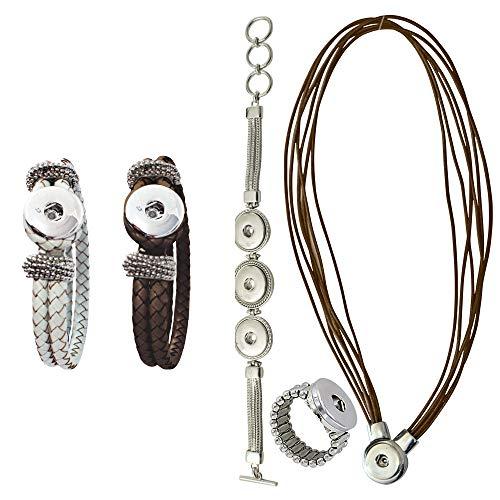 Sunsa Damen Mädchen, Click-Buttons Druckknöpfe Chunks Set für: 1 Kette, 3 x Armband,Ring. klick Button Schmuck Sets sind tolle Schwester/Oma/Mama Geschenk Frauen