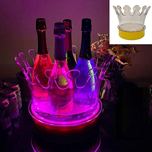 AQAQ LED Eiswürfelbehälter Farbwechsel, Kronen-sektkühler für Cocktailbar, Lademodus Leuchtende Esektkühler Schale für Partys