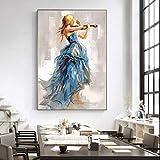 NSRJDSYT Moderne Wandkunst Leinwand Gemälde Mädchen spielt die Geige Poster und Drucke Ballerina Mädchen Leinwand Kunstdrucke für Wohnzimmer-50x70cm Rahmenlos