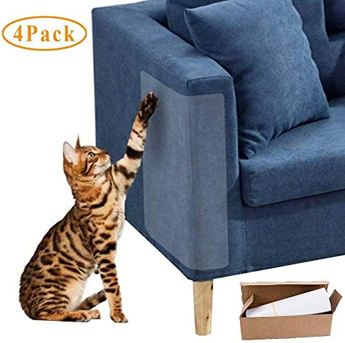 Waymeduo Cat Sticky Paws Tape para Muebles, sofá, Pared, colchón Clear Anti Scratch Cat Deterrent Training Tape 4pcs Cat Scratch Furniture Protector Cat Couch Protector 30 * 45CM